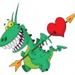 Funny dragon with heart — Stock Vector