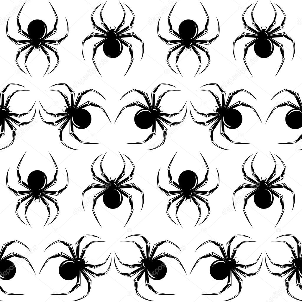 Halloween seamless  with black  spiders on the white background — Grafika wektorowa #5423237