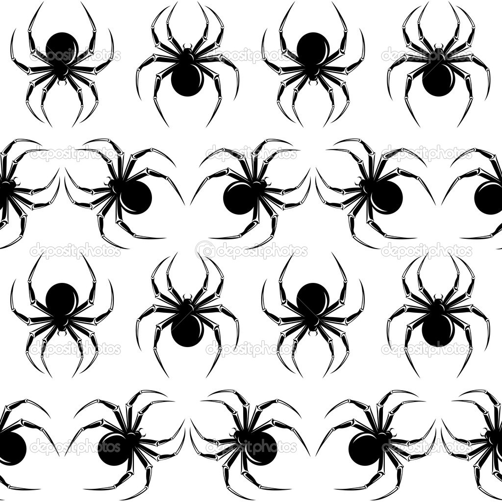 Halloween seamless  with black  spiders on the white background  Stok Vektr #5423237