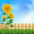 Background with sunflowers. Mesh. - Stock Vector