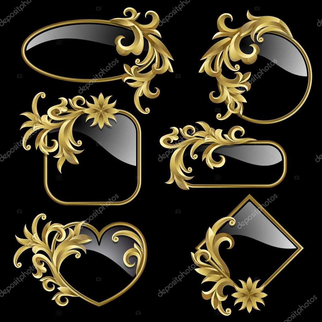 Set from  gold frames with golden plants on the black background  — Stock Vector #6309866
