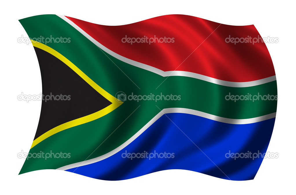 Flag of South Africa waving in the wind - clipping path included — Stock Photo #5381291