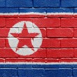 Stock Photo: Flag of North Korea on brick wall