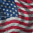 Flag of the USA on brick wall — Foto Stock