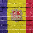 Flag of Andorra on brick wall — Foto de Stock
