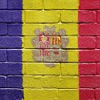 Flag of Andorra on brick wall — Stok fotoğraf