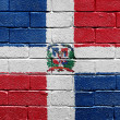 Flag of Dominican Republic on a brick wall — Stock Photo