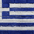 Flag of Greece on a brick wall — Foto de Stock