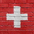 Flag of Switzerland on a brick wall -  