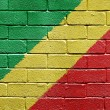 Flag of Republic of the Congo on brick wall - Stock Photo