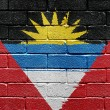 Flag of Antigua and Barbuda on brick wall — Stock fotografie