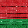 Flag of Belarus on brick wall — Stock fotografie