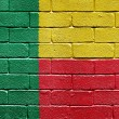 Flag of Benin on brick wall — Stock fotografie