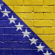 Flag of Bosnia and Herzegovina on brick wall — Стоковая фотография