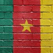 Flag of Cameroon on brick wall — Stockfoto
