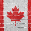 Flag of Canada on brick wall — Stok fotoğraf