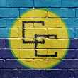 Flag of the Caribbean Community on brick wall - Foto Stock