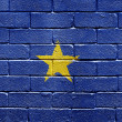 Flag of Republic of the Congo on brick wall - Stockfoto