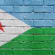 Flag of Djibouti on brick wall — Stockfoto