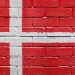 Flag of Denmark on brick wall — Stok fotoğraf