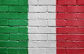 Flag of Italy on brick wall — Stock Photo