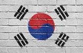 Flag of South Korea on brick wall — Stock Photo