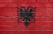 Flag of Albania on brick wall — Stock Photo