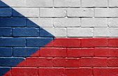 Flag of the Czech Republic on brick wall — Stock Photo