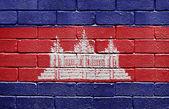 Flag of Cambodia on brick wall — Stock Photo