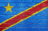 Flag of the Democratic Republic of the Congo on brick wall — Stock Photo