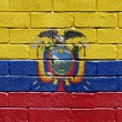 Flag of Ecuador on brick wall — Stockfoto