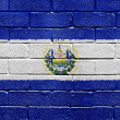 Flag of El Salvador on brick wall - Stock Photo