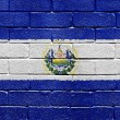 Flag of El Salvador on brick wall — Stock Photo