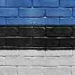 Flag of Estonia on brick wall - Stock Photo