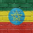 Flag of Ethiopia on brick wall — ストック写真