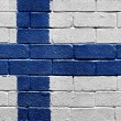Flag of Finland on brick wall — Stock Photo
