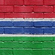 Stock Photo: Flag of Gambion brick wall