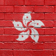 Flag of Hong Kong on brick wall — Stok fotoğraf
