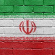 Flag of Iran on brick wall — Stockfoto