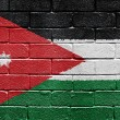 Flag of Jordan on brick wall — Lizenzfreies Foto