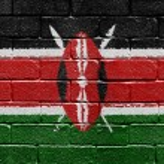 Flag of Kenya on brick wall — Stock Photo #5400558