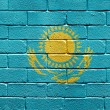 Flag of Kazakhstan on brick wall — Stockfoto