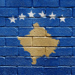 Flag of Kosovo on brick wall — Stock Photo