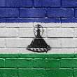 Flag of Lesotho on brick wall — Stock Photo