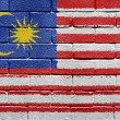 Flag of Malaysia on brick wall — Stockfoto