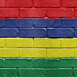 Stock Photo: Flag of Mauritius on brick wall