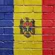 Flag of Moldova on brick wall — Stockfoto