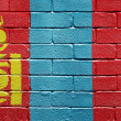 Stock Photo: Flag of Mongolion brick wall