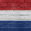 Flag of Netherlands on brick wall — ストック写真