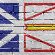 Flag of Newfoundland on brick wall — Stock fotografie
